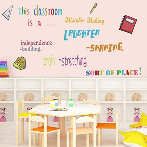 TOARTi Colorful Lettering Wall Decal School Supplies Stickers, Inspirational Quote Wall Art for Teacher Students Classroom School Decor