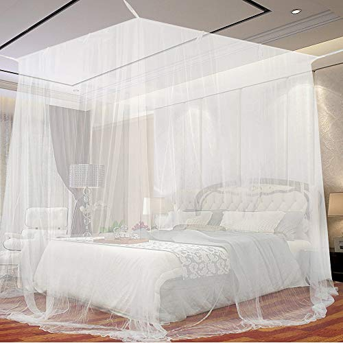Moskitonetz, opamoo Fliegennetz Mückennetz Feinmaschiges Moskitonetz Großes Moskitonetz Quadratische Moskitonetze für Doppelbett und Einzel Bett Fliegennetz Mückennetz - 200 x 220 x 210cm, Weiß
