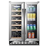 Sinoartizan Under Counter Wine and Beverage Cooler, 18 Bottles and 55 Cans