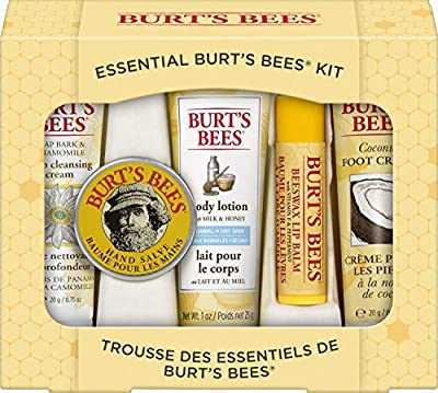 SKIN CARE PRODUCTS: Pamper from head to toe with this giftable set including 5 travel size Burt's Bees favorites: Soap Bark and Chamomile Deep Cleansing Cream, Hand Salve, Milk & Honey Body Lotion, Coconut Foot Cream and Beeswax Lip Balm, HANDS & FEE...