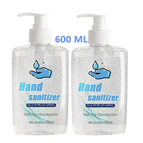 Refreshing Hand Sanitizer Gel, Washless Hand Soap Gel, 300ML Super-Large Capacity, Long-Lasting Speed Dry Hand Lotion (600ML, Transparent)