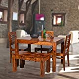 Douceur Furnitures Sheesham Wood Dining Table with 3 Chairs, 1 Bench | 4 Seater Dining Set | Wooden Dining Table with Chair - Dining Room Furniture (Honey Finis