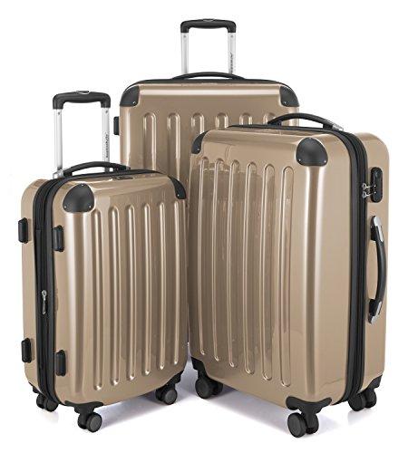 HAUPTSTADTKOFFER - Alex - Set di 3 valigie, 4 Doppie ruote, Nero brillante, (S, M & L), 235 litri,...