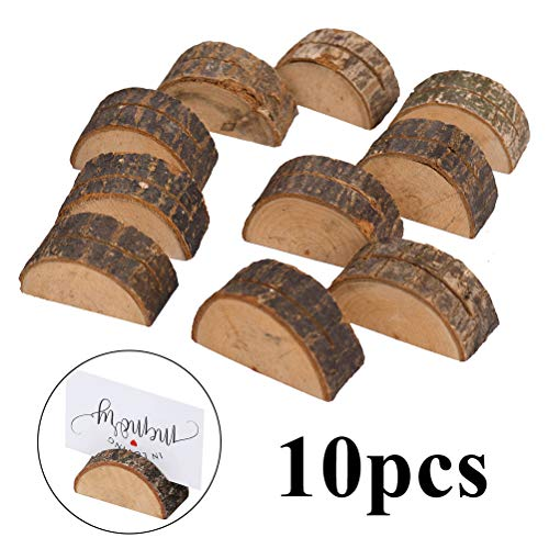 Odowalker Half Round Rustic Wooden Card Holders with Bark Wood Wedding Place Card Holders Stand Table Number Stands Stumps Picture Memo Note Photo Clip for Home Party Decor Wedding Favors (10 Pieces)