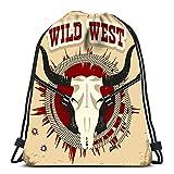 Hdadwy Mochila con cordón Bolsas Deportes Cinch Buffalo Skull Western Wild West Texto en Papel Viejo Vintage para Gimnasio Escolar