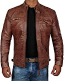 Decrum Brown Mens Genuine Biker Distressed Vintage Leather Jackets | [1100085] Diamond 1 Brown, XL