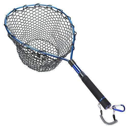 Telescopico Fly Fishing Guadino del Telaio in Lega di Alluminio, Piccola Maglia della Gomma Cordino Clip magnetiche (Color : Blue)