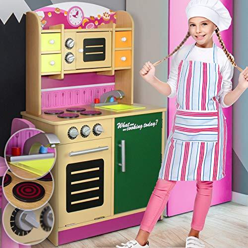 Cucina per Bambini - con Armadietto e Cassetti, Fornello, Forno a Microonde, Lavello, Orologio e Lavagna, Multicolore - Cucina Giocattolo, Gioco d'Imitazione, Educazione, Tavola Divertimento