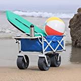 MacSports Heavy Duty Collapsible Folding All Terrain Utility Wagon Cart with Side Table, Blue/White