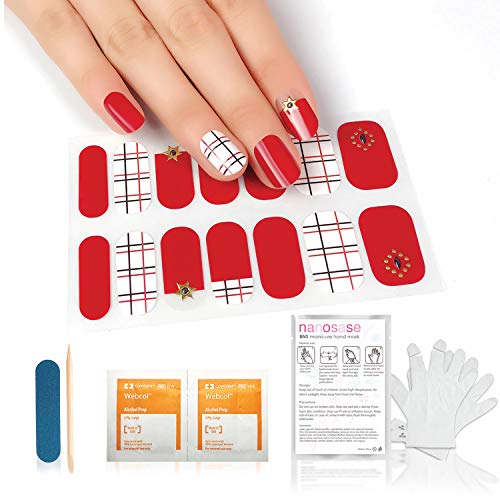 nanosase BNS Bundle, 3D Nail Stickers + SPA Moisturizing Hand Mask (Mask+K08 Inspiration Grid 1pk)