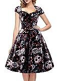 oten Women's Christmas Polka Dot Sugar Skull Vintage Swing Retro Rockabilly Cocktail Party Dress Cap Sleeve Black