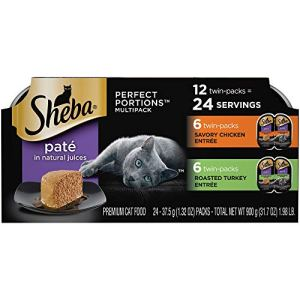 Sheba Perfect Portions Variety Pack Savory Chicken and Roasted Turkey Entrees Wet Cat Food, 2.64 oz., Count of 12