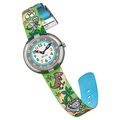 Flik Flak Kids' Funny Hours Quartz Polyester Strap, Grey, 14 Casual Watch (Model: ZFBNP048)