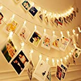40 LEDs 20 Photo Clips String Fairy LED lights for Wall, Party Wedding Christmas Indoor Outdoor Home Garden Decoration to Hang Card, Polaroids & Pictures, 3AA Battery Operated(13ft Warm White)