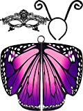 3 Pieces Butterfly Wings Shape Shawl Cloak Ant Antenna Headband Lace Mask for Costume Accessory (Color Set 2)