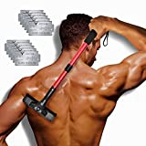EASACE Back Hair Removal Back Groomer for Men, Body Shaver with Long Handle 21.5 Inch Adjustable, Curved DIY Pain-Free Body Shaving Trimmer with 10 Refills Universal Razor Durable Double Edge (Red)