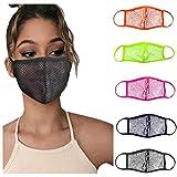 5pcs Reusable Face Guard, Mesh Face Bandanas for Adults, Breathable Face Covering (Multicolor)