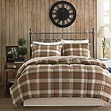 Woolrich Plaid Bed Comforter Set Ultra Soft Microfiber 3 Pieces Bedding Sets – Bedroom Comforters, Full/Queen, Brown