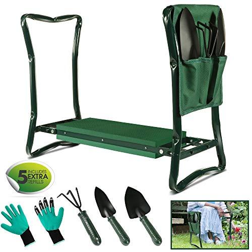 MASTERTOP 2-in-1 Garten Kniebank, klappbar Gartenhocker (60.5 × 47 ×15 cm) mit Werkzeugtasche und 3 Gartenwerkzeugen für Gartenarbeit, tragbar, Grün