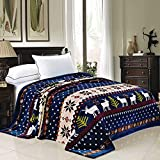BNF Home Christmas Collection Flannel Fleece Blanket, Queen