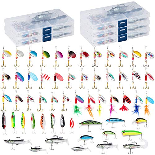 Dr.Fish 60 Fishing Lures Kit with 5 Tackle Boxes Spinner Baits Soft Plastic Swimbait Spoon Lures...