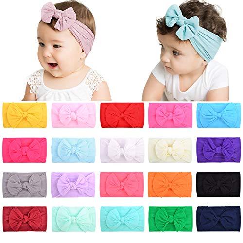 choicbaby 20 fasce per capelli in nylon per neonato, fasce per capelli, fiocchi elastici per neonati, bambini