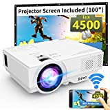 WiFi Mini Projector, 2020 Latest Update 4500 Lux [100' Projector Screen Included] Supported 1080P Synchronize Smartphone Screen by WiFi/USB Cable, Support TV Stick, HDMI, USB, SD, Sound Bar
