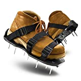 LASTOOLS Lawn Aerator Shoes Spiked Aerating Sandals Heavy Duty One-Size-Fits-All & Easy to Use Single Strap Design & Nonslip Gardening Shoes(Black)