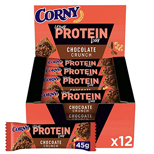 Corny Your Protein Chocolate Crunch, Eiweiß-Riegel mit 30 Prozent Protein, ohne Zuckerzusatz, 12er Pack (12 x 45g)