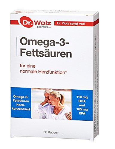 Omega-3-Fettsäuren Kapseln | 110 mg DHA & 165 mg EPA | Kaltwasser-Seefisch-Öl | 60 Kapseln