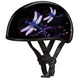 Daytona Helmets Motorcycle Half Helmet Skull Cap- Dragonfly 100% DOT Approved