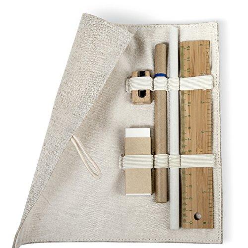 Geschenkartikel-Shopping Astuccio in juta e cotone chiusura a bottoni di legno 15cm bamb Righello Matita Penna a sfera legno temperamatite gomma