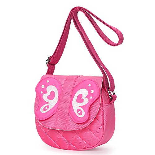 51O7cnb9j1L PREMIUM MATERIALS - Outer and inner are made of high quality soft Oxford cloth, toxic free and odorless, well built and will not out of shape. Sturdy and flexible shiny hardware, beautiful and fashional, light and colorful, with good sense of touch and durable MINI SIZE - Purse Size: 5.5 x 5.5 x 2 (Inches). Specially designed size for toddler girls. Adjustable Shoulder Strap - Conformtable and duable adjustable comfy straps, perfect for school, hiking or travel. MULTIFUNCTION - Kids sweet bowknot princess small handbag is a casual cross body shoulder bag. Light Weight, Bright Color, Durable - This cute toddler small shoulder bag is a great gift for little kids girls backpack for kindergarten.