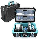 Navaris caja de herramientas de plástico - Organizador de herramienta con protección antigolpes - Maletín para herramientas de bricolaje con diseño
