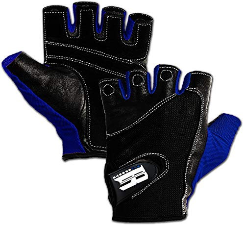 Double Stitched Weight Lifting Gym Gloves with Anti-Slip Leather Palm for Workout Exercise Training Fitness and Bodybuilding for Men & Women Prevents Calluses and Blisters, Blue M