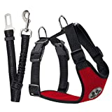 SlowTon Dog Car Harness Plus Connector Strap, Multifunction Adjustable Vest Harness Double Breathable Mesh Fabric with Car Vehicle Safety Seat Belt .(Red, Medium)