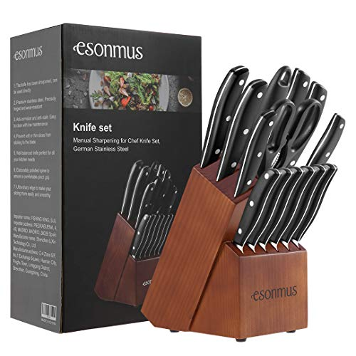 esonmus Set Coltelli, Coltelli da Cucina Professionali da Chef con Ceppo Coltelli in Legno, Set di Coltelli in Acciaio Inossidabile, 15 Pezzi