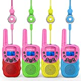 Wishouse Kids Walkie Talkies 4 Pack, 2 Way Radio Long Range, Girls Boys Toys Age 6 7 8 for Outdoor Camping Adventure Games with Flashlight, Birthday Party Gift for 3 4 5 Year Old Children Toddlers