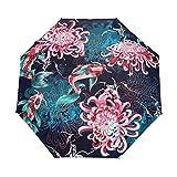 Parapluie Japonais Monde Poissons Aquatique Fleurs Ouverture Automatique Fermer Soleil Pluie Parapluie