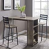 Walker Edison AZW48LNSB3PGW 3 Piece Drop Leaf Counter Table Dining Set with Storage, 48', Grey Wash