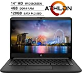HP 14 14' HD SVA Anti-Glare Micro-Edge WLED-backlit Laptop for Students, AMD Athlon 3050U 2.3GHz up to 3.2GHz, 4GB DDR4, 128GB SSD, Wi-Fi 5, Bluetooth 4.2, HDMI, Webcam, Windows 10 S, Accessory Bundle