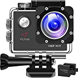 【3-6 Days Delivery】 Victure AC400 1080P HD 12MP WiFi Action Camera 30M Underwater Max 170°Wide-Angle Sports Cam with 2 Rechargeable 1050mAh Batteries and Mounting Accessories Kits