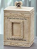 Faithful Angel Pet Memorial Urn with Photo Slot and Paw Print - Cream