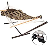 Lazy Daze Hammocks 12 Feet Space Saving Steel Hammock Stand with Cotton Rope Hammock Combo, Includes Quilted Polyester Hammock Pad, Pillow, Mag Bag and Cup Holder, Classic Brown Stripe