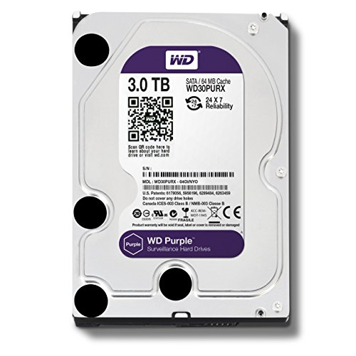 Western Digital WD Purple HDD Interno 3000 GB, SATA III, 6000 Mbit/s, 5400 rpm, 64 MB, 3.50 Pollici
