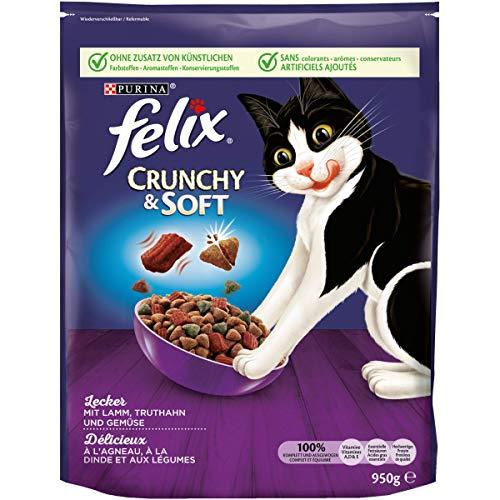 FELIX Crunchy & Soft Katzenfutter trocken, mit Lamm und Truthahn, 4er Pack (4 x...