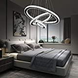 Arxeel Modern Crystal Chandelier, Contemporary Led Ceiling Lights Fixtures Pendant Lighting for Living Room Bedroom Restaurant Porch Dining Room (3 Rings,Dia 23.6'+15.7'+7.9')