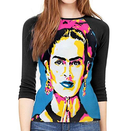 Camiseta de Manga Larga para Mujer, diseño de Saatchi Art Frida Kahlo, Cuello Redondo M