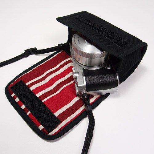 suono(スオーノ) ハンドメイド Nikon1 J5ケース-標準パワーズームレンズ用(ブラック・ボルドーストライプ)