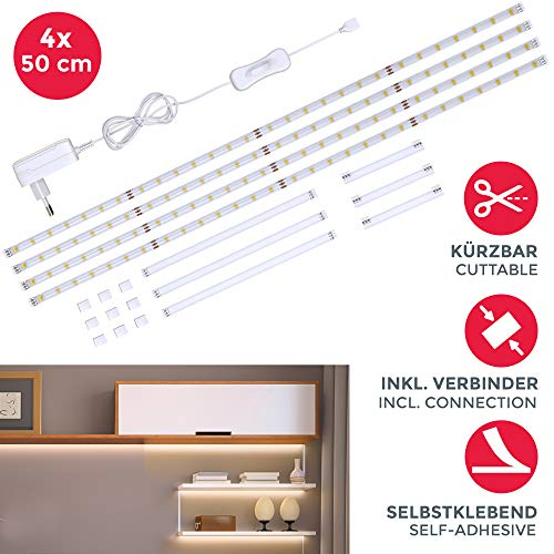 B.K.Licht I LED Strip I LED Unterbauleuchte | LED Streifen | Helle Lichtleiste mit Schalter | LED-Küchenbeleuchtung | 4x50cm Stripes | LED Band 1100 Lumen | 4.000K Neutralweiß